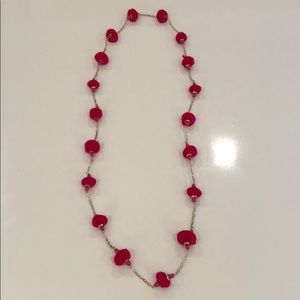 EUC Bright Pink & Crystal Necklace